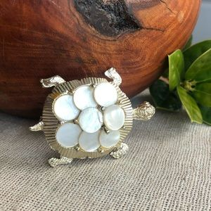 Vintage Gold Tone Shell Turtle Brooch